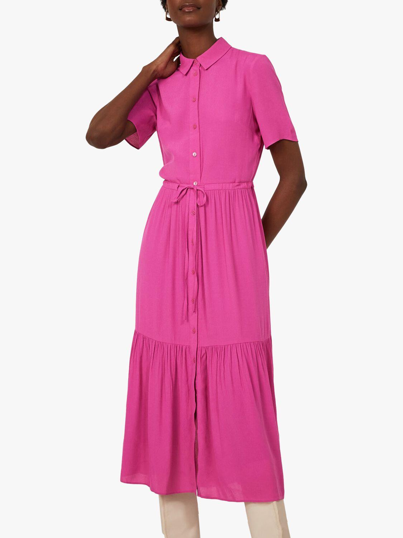 Warehouse Tiered Midi Shirt Dress, Bright Pink at John Lewis ...