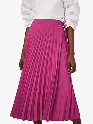 Warehouse Pleated Wrap Midi Skirt, Bright Pink