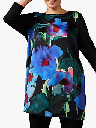Studio 8 Kourtney Floral Print Tunic Top, Black/Multi