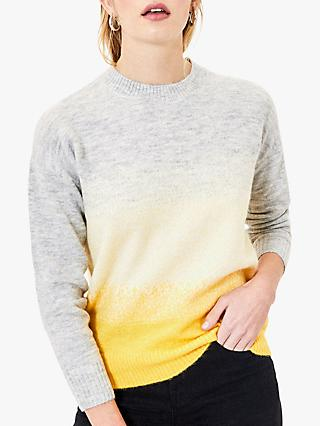Oasis Ombre Fluffy Knit Jumper, Multi/Yellow