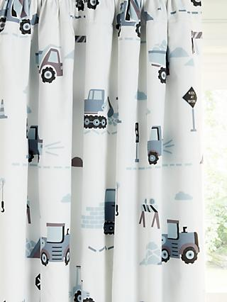 little home at John Lewis Construction Print Pencil Pleat Blackout Children's Curtains, Multi