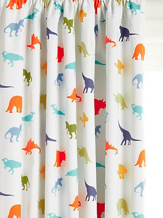 little home at John Lewis Dennis Dinosaur Pencil Pleat Blackout Children's Curtains, Multi