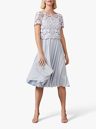 Phase Eight Brandie Lace Bodice Chiffon Dress, Mineral
