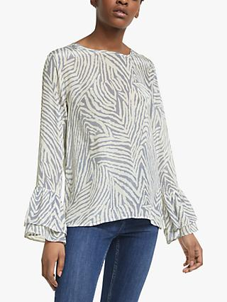 Lily and Lionel Ella Zebra Print Blouse, Baby Blue