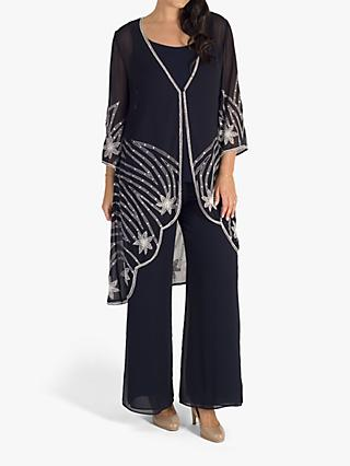 Chesca Beaded Chiffon Evening Jacket, Navy