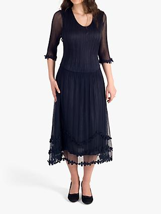 chesca Sheer Midi Dress, Navy