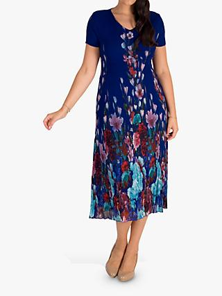 chesca Floral Midi Dress, Cobalt/Multi