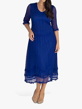 chesca Mock Layer Daisy Chain Trim Pleated Mesh Dress