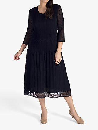 Chesca Pleat Lace Detail Midi Dress, Black