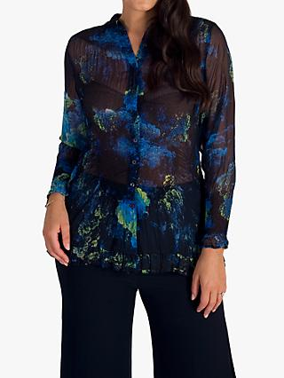 Chesca Floral Print Crush Pleat Blouse
