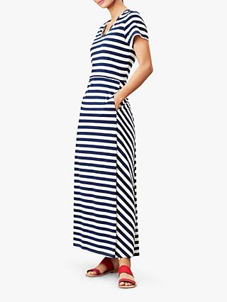 Joules Tessa Striped V-Neck Maxi Dress, Navy Stripe