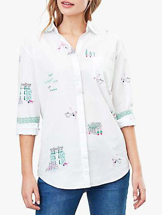 Joules Amilla Graphic Dropped Shoulder Shirt, White Garden