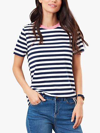 Joules Selma Short Sleeve Round Neck Cotton Top, Navy/Blue