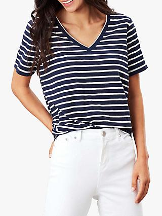 Joules Celina V-Neck Cotton T-Shirt, Navy Cream Stripe