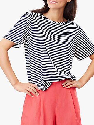 Joules Vera Cotton Modal Stripe T-Shirt, Navy Stripe