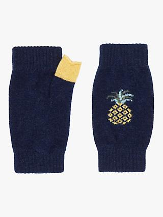 Brora Cashmere Pineapple Wrist Warmer Gloves, French Navy