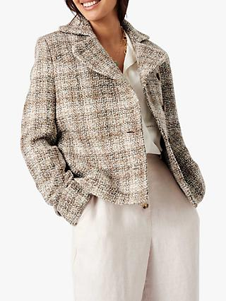 Brora Summer Tweed Jacket, Swan/Gold