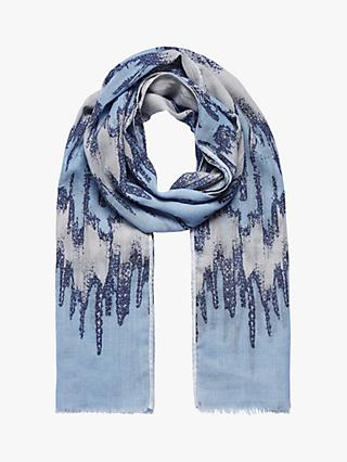 Brora Wool Graphic Print Stole Scarf, Periwinkle