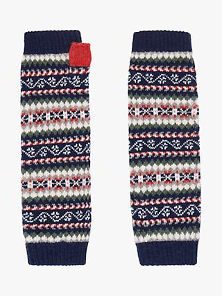 Brora Cashmere Fair Isle Wrist Warmer Gloves, French Navy