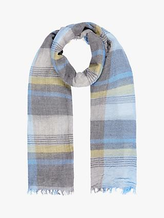 Brora Cashmere Check Stole Scarf, Sky/Mimosa