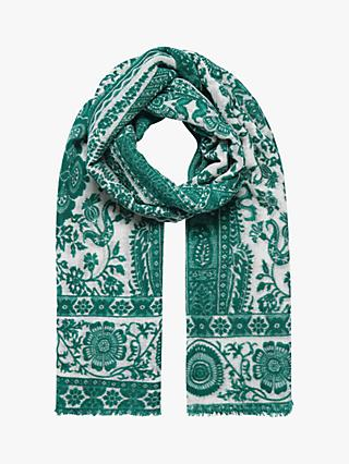 Brora Wool Floral Stole Scarf, Emerald/Pearl