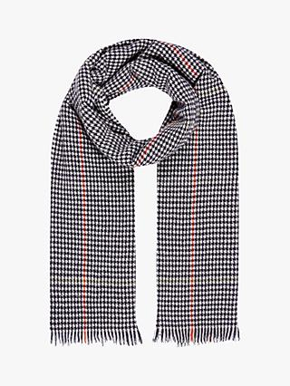 Brora Cashmere Dogtooth Stole Scarf, French Navy/Swan