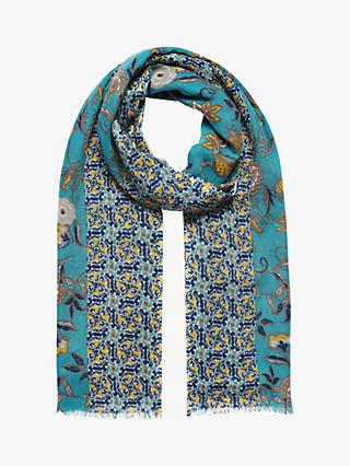 Brora Wool Patchwork Floral Stole Scarf, Ocean/Maize
