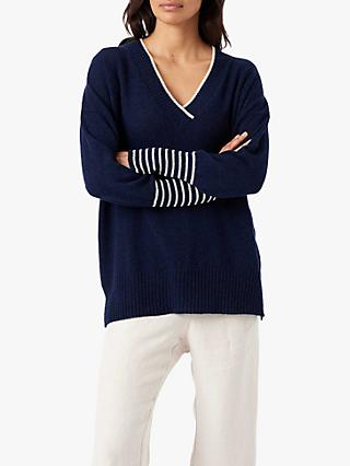 Brora Gauzy Cashmere V-Neck Jumper, French Navy/Swan