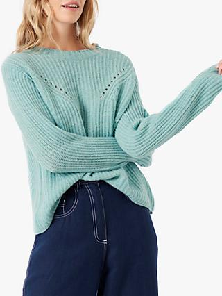 Brora Gauzy Cashmere Ribbed Jumper, Sea Holly