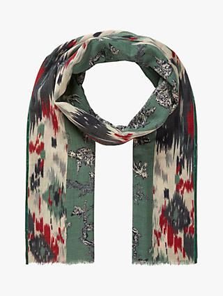 Brora Wool Toile De Jouy Stole Scarf, Willow