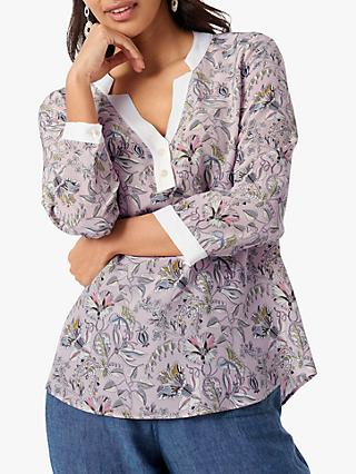 Brora Liberty Contrast Floral Silk Blouse, Tea Rose Bloom