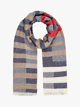 Brora Cashmere Colour Block Stole Scarf, French Navy/Otter