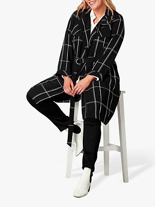 Live Unlimited Curve Check Trench Coat, Black/White