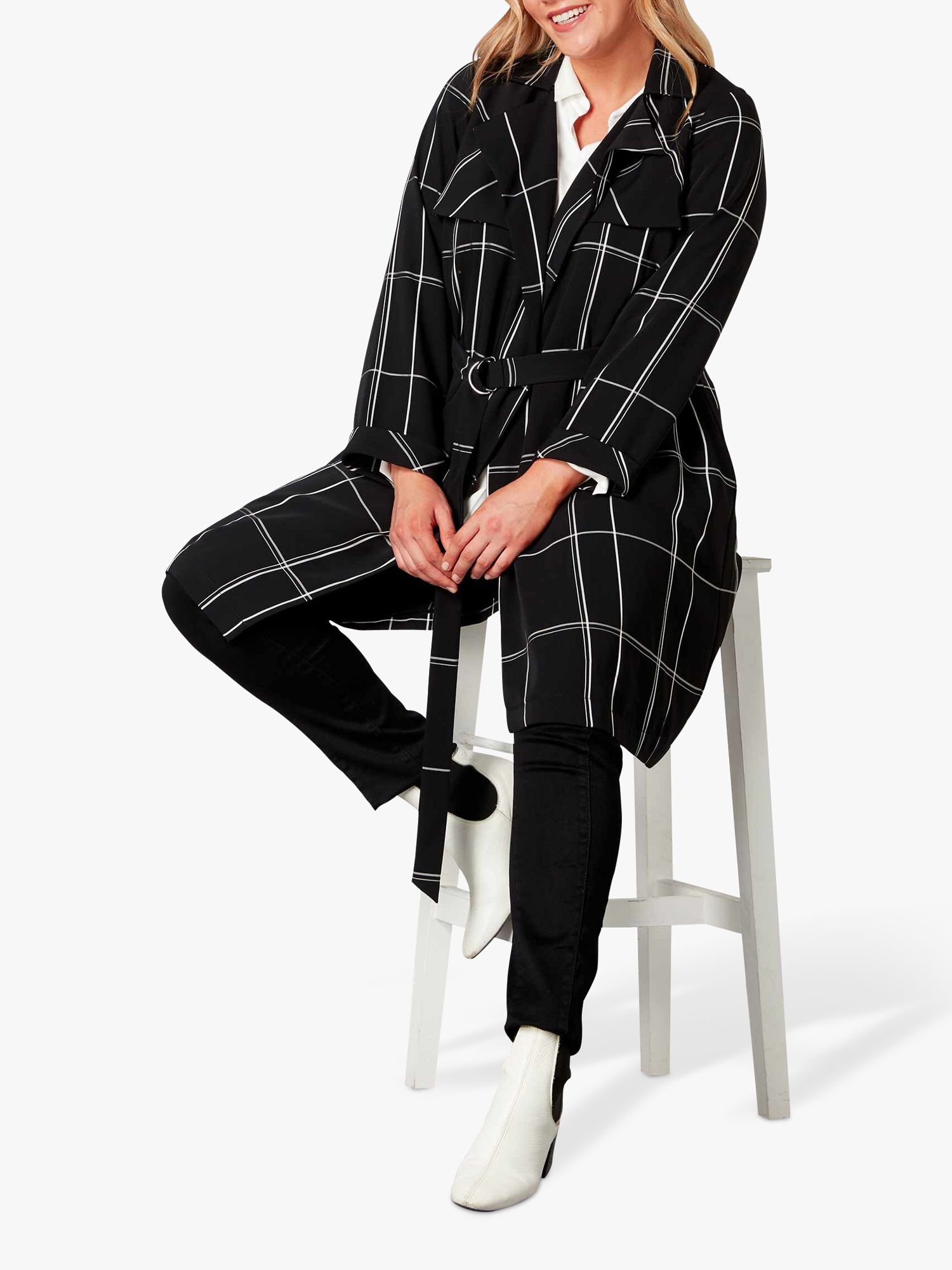 Live Unlimited Live Unlimited Check Trench Coat, Black/White
