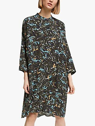 Kin Banya Print Oversized Shirt Dress, Blue/Multi