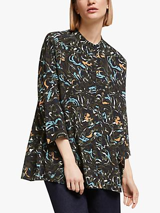 Kin Banya Print Oversized Shirt, Blue/Multi