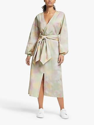 Just Female Nikki Tie Dye Print Wrap Dress, Pastel