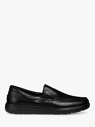 Geox Leitan Leather Loafers, Black