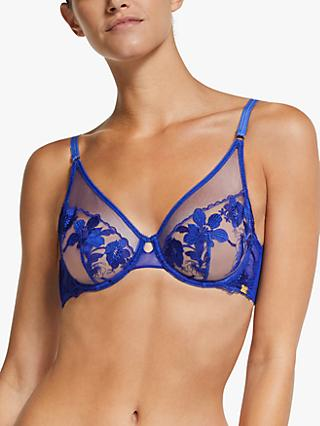 AND/OR Uma Floral Embroidered Bra, Blue