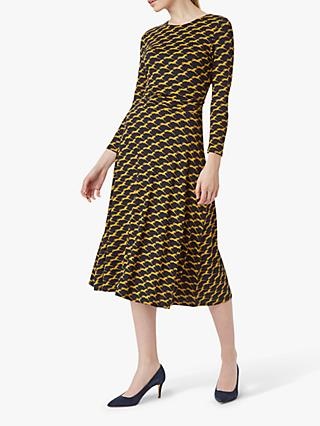 Hobbs Bayview Horse Print Dress, Navy Chartreuse
