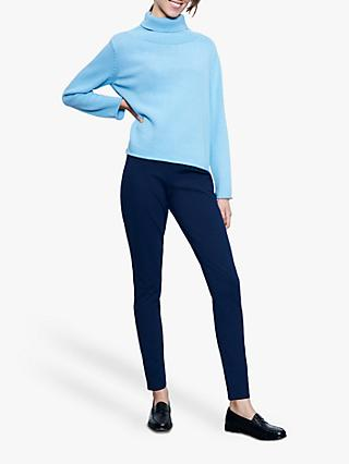 Winser London Merino Wool Flat Rib Roll Neck Jumper, Cool Aqua