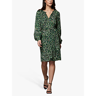 Winser London Mini Rose Print Easy Shift Dress, Green