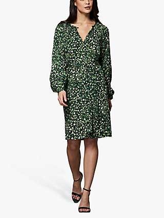 Winser London Mini Rose Print Easy Shift Dress, Green