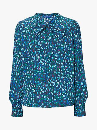 Winser London Rose Print Bow Neck Blouse