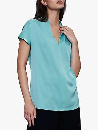 Winser London Silk V-Neck Blouse, Soft Turquoise