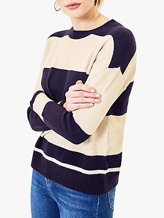 Oasis Stripe Knit Jumper, Navy
