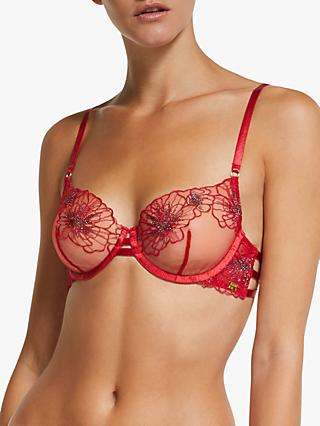 AND/OR Alexis Embroidered Sheer Balcony Bra, Red