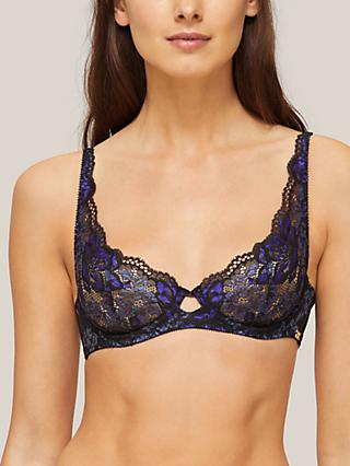 AND/OR Aliyah Non Padded Lace Plunge Bra, Navy