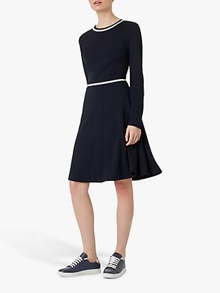 Hobbs Charlene Knee Length Dress, Navy/Ivory
