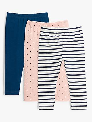 John Lewis & Partners Baby Organic Cotton Spot And Stripe Print Leggings, Pack of 3, Multi